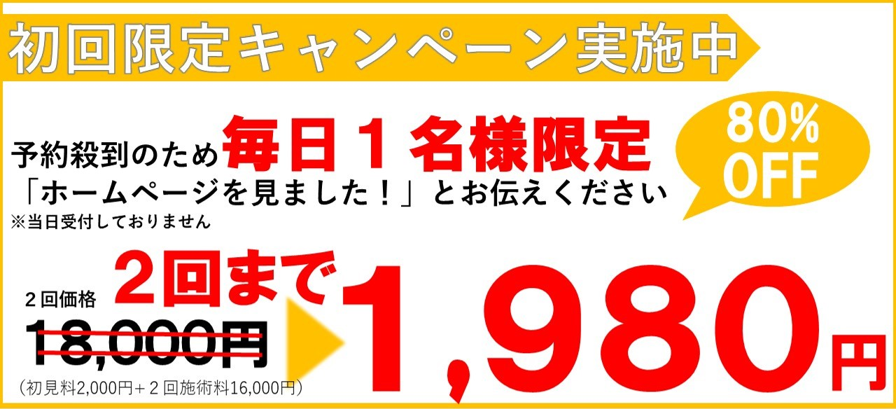 お試しキャンペーン 1日1名様ホームページ限定1980円